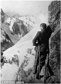 George Mallory, pictured in the Alps in 1909