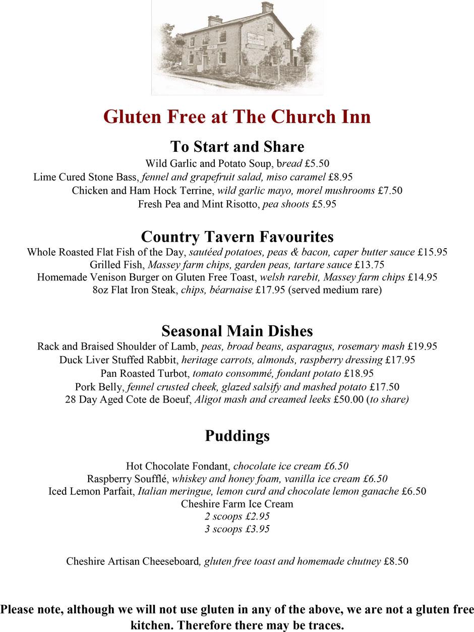 Gluten Free | The Church Inn of mobberley